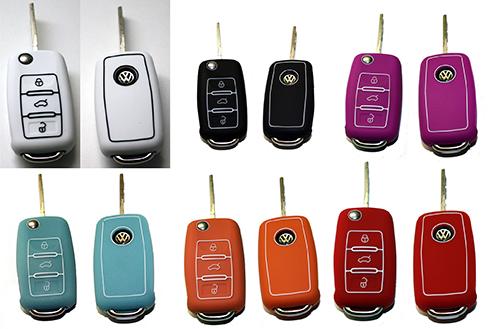VW Seat Skoda Flip Key Case Cover Car Silicone Skin Rubber VAG Passat Touare